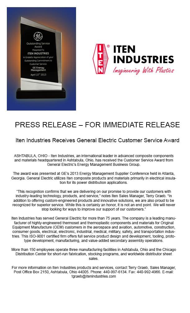 GE Customer Service Award Press Release